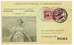 CARTOLINA CELEBRATIVA  ESPERIMENTO DI POSTA AEREA ANNO 1917 - DA TORINO A ROMA - VIAGGIATA  - RARA - AIR MAIL - Airmail