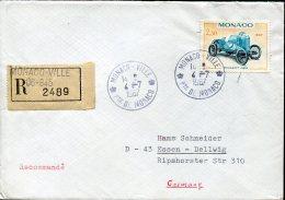 12568 Monaco, Circuled Registered Cover 1967 With Stamp 2,30fr. Oldtimer Peugeot Of 1910 - Beroemde Personen