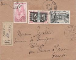 Yvert   1129 + 1192 + 1197  Sur Lettre Recommandée Paris 68 - 17/4/1959 Pour Mechives 33 - Brieven En Documenten