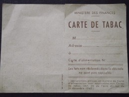 CARTE De TABAC Vierge - Ministère Des Finances - 1947 - Bon état - A Voir ! - Documents