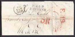 FR - 1830 - MARQUE LINEAIRE P. 64. P  DE PORT PAYE SUR PLI DE BAYONNE VERS MADRID - - 1801-1848: Precursores XIX