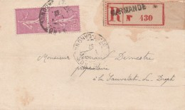 Yvert 202 X 2 Paire Verticale Semeuse Lignée  Lettre Recommandée Marmande Lot Et Garonne 1932 Pour La Sauvetat Du Dropt - France