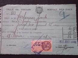 TOULON (Vas) - RECU Du SERVICE Des EAUX Avec Timbre Fiscal - 12 Mars 1928 - A Voir ! - Other
