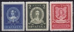 4628. Croatia NDH 1943 Poet Petar Zrinski, MH (*) Michel 103-105 - Croatie