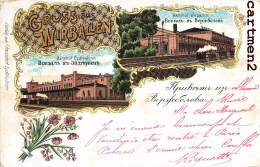 KYBARTAI LITUANIE GRUSS AUS WIRBALLEN BAHNHOF 1900  Lithuania - Lituania