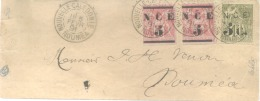 1891 NOUMEA NOUVELLE CALEDONIE COVER WITH FANTASTIC FRANKING 75 CENTS X 2 AND 1 FRANC SURCHARGED STAMPS. UNUSUAL AND SCA - Nieuw-Caledonië
