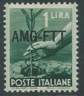 1949-50 TRIESTE A DEMOCRATICA 1 LIRA MNH ** - P19 - Mint/hinged