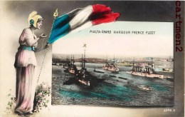 MALTA GRAND HARBOUR FRENCE FLEET CUIRASSE TORPILLEUR MARINE MILITAIRE BATEAU PATRIOTISME GUERRE BOAT - Malte