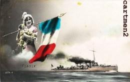 LE CUIRASSE FLAULX MARINE MILITAIRE FRANCAISE PATRIOTISME GUERRE MARIANNE BOAT MALTE MALTA - Guerra