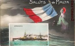 SALUTS DE MALTA LE DEMOCRATIE CUIRASSE TORPILLEUR MARINE MILITAIRE BATEAU PATRIOTISME GUERRE BOAT MALTE ENGLAND - Malte