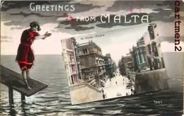 GREETINGS FROM MALTA STREEST REALE MALTE ENGLAND ITALIA - Malta
