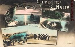 GREETINGS FROM MALTA COUNTRY GIRLS HARBOUR GARDEN MALTE ENGLAND ITALIA - Malta