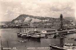 BARCELONA - Montjuich Y Estacion Maritimo, Hafen, Schiffe, Fotokarte Gel.1957 - Barcelona