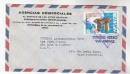 Air Mail  NICARAGUA Agencias Commerciales Artes Graficas COVER 40c Policroma Stamps  To Cinefot Co USA - Nicaragua
