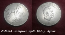 ZAMBIA - 20 Ngwee -1968 - KM 13 - Agouz. - Zambie