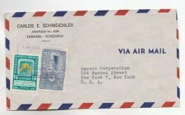 1950s Air Mail VENEZUELA COVER 10c TREE CONSERVATION  5c SHIP  Stamps To USA - Venezuela