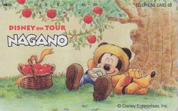 Télécarte Japon / 110-016 - DISNEY ON TOUR NAGANO - MICKEY & Pluto Sieste Sous Un Pommier - Japan Phone Card - Disney