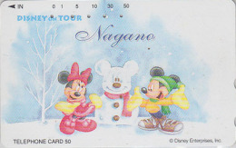 Télécarte Japon / 110-016 - DISNEY ON TOUR NAGANO - MICKEY MINNIE Bonhomme De Neige - Snowman Japan Phonecard - Disney