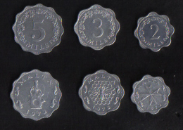 MALTA -  SET OF 3 MALTA COINS / 2 - 3 - 5 - MILS 1972 - Malta