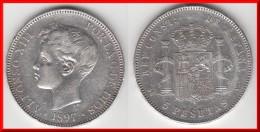 **** SPAIN - ESPAGNE - 5 PESETAS 1897 SG-V ALFONSO XIII - SILVER -ARGENT **** EN ACHAT IMMEDIAT !!! - [ 1] …-1931 : Royaume