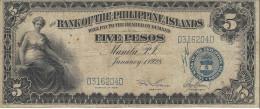 PHILIPPINES 5 PESOS 1928 P-16a F/VF VERY RARE S/N D316204D [PH0607a] - Philippines