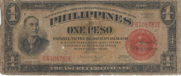PHILIPPINES 1 PESO 1941 P-89b FR/VG ULTRA RARE S/N E6108782E [PH0546b] - Philippines