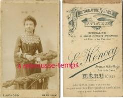 CDV Portrait De Femme-mode-joli Col Dentelle-photographie E. Hénorcq Avenue Victor Hugo Près Gare à Méru (oise) - Old (before 1900)
