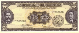 PHILIPPINES 5 PESOS 1949 (1970) P-135f UNC  [PH0919f] - Philippines