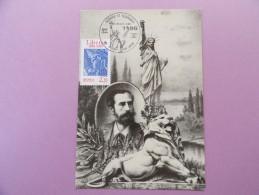 CARTE MAXIMUM CARD STATUE DE LA LIBERTÉ ET LION DE BELFORT AUGUSTE BARTHOLDI AVEC OSI - 1980-89