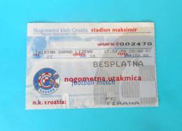 NK CROATIIA : FK TIRANA Albania - 1996. UEFA EUROPA LEAGUE Football Match Ticket Soccer Foot Billet Fussball Calcio - Match Tickets