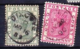 COTE D'OR - GOLD COAST 1884-91 YT N° 11 Et 13 Obl. - Costa D'Oro (...-1957)