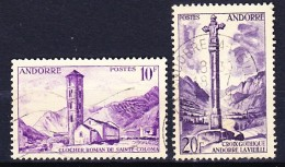 ANDORRE FRANCAISE 1955-58 YT N° 144 Et 148 Obl.