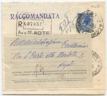 1955 SIRACUSANA L. 60 RUOTA ISOLATO SU RACCOMANDATA 8.6.55 RESTITUZIONE TIMBRO ARRIVO E OTTIMA QUALITÀ (6886) - 6. 1946-.. Repubblica