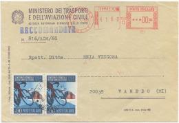 1968 CICLISMO L. 90 COPPIA BUSTA RACCOMANDATA 22.10.68 SPLENDIDA QUALITÀ (6871) - 6. 1946-.. Repubblica