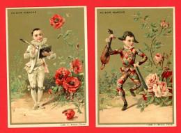 Au Bon Marché, Lot De 2 Chromos Lith. J. Minot MI-68, Pierrot, Arlequin & Fleurs, Coquelicot & Roses - Au Bon Marché