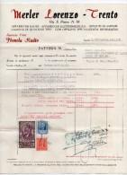 "Trento - Fattura Della Ditta "" Merler Lorenzo"" Datata 6.09.1942 - (BPLAST6) - Italia"