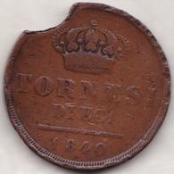 DUE SICILIE .10 TORNESI 1840 .FERDINANDO II . Coin Cassé.Rognages Du Flan , Fautée - Regional Coins