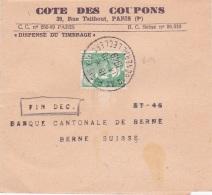 GANDON N°809 5f Obl PARIS XIV SEUL SUR BANDE D'IMPRIMÉ ETRANGER > Berne Suisse - BON TARIF - UPU - 1921-1960: Moderne