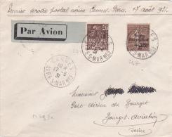 SEMEUSE 50c+25c N°267 + 271 Sur Lettre AVION - PREMIER VOL CANNES PARIS - MULLER 293A - Poste Aérienne