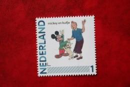 Tintin Kuifje Herge Tintin + Mickey Disney  Persoonlijke Zegel POSTFRIS / MNH ** NEDERLAND / NIEDERLANDE/ NETHERLANDS - Pays-Bas