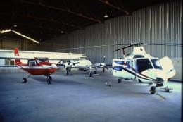 DIAPOSITIVA SLIDE   Elicottero AGUSTA A109 ALIDAUNIA I-MSTR  Hangar  Aeroporto Gino Lisa 1984 - Diapositive