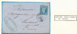 N°22 VARIÉTÉ SUR LETTRE AVEC MENTION EXPLICATIVE. - 1862 Napoléon III