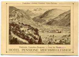 PUBBLICITà HOTEL PENSIONE REICHRIEGLERHOF GRIES BOLZANO - Advertising