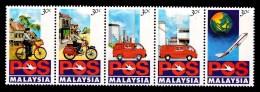 Malaysia 1992 Postal Service Strip Of 5 MNH - Bicycle, Motorbike, Van, Plane - Malaysia (1964-...)