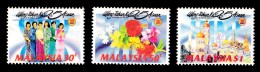 Malaysia 1992 25 Years Of ASEAN Set Of 3 MNH - Flowers, Costumes, Buildings - Malaysia (1964-...)