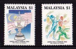 Malaysia 1992 Thomas Cup Badminton Set Of 2 MNH - Malaysia (1964-...)