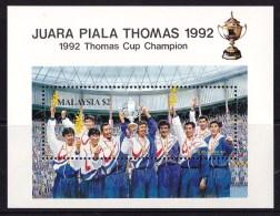 Malaysia 1992 Thomas Cup Badminton Minisheet MNH - Malaysia (1964-...)