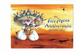 Carte DIDDL F N° 5 - Joyeux Anniversaire - SOURIS MOUSE CHAPEAU OISEAUX - 2000 - Diddl
