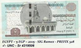 EGYPT – 5 EGP – 2015 - SIG Ramez - PREFIX 328 ك - UNC - Sr 4319506 - Egypt