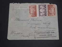 FRANCE / GUYANNE - Env. De Cayenne Pour Le Maroc En 1949 Avec Griffe 1ère Liaison Directe Cayenne / Paris  - L 1930 - Guyane Française (1886-1949)